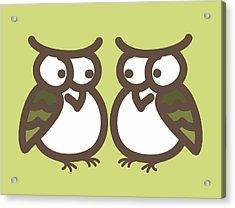Twin Owl Babies- Nursery Wall Art Acrylic Print by Nursery Art