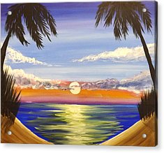 Acrylic Print featuring the painting Twin Palms by Darren Robinson