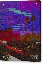 Twin Palms Purple Haze Acrylic Print by J Burns