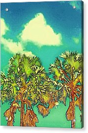Twin Palms With Aqua Sky - Vertical Acrylic Print