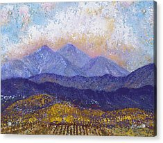 Acrylic Print featuring the painting Twin Peaks Above The Fruited Plain by Margaret Bobb