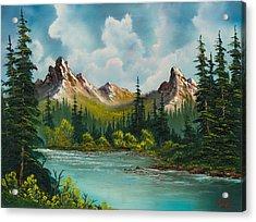 Twin Peaks River Acrylic Print by C Steele