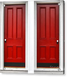 Twin Red Doors Acrylic Print by Olivier Le Queinec