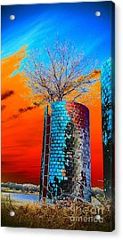 Acrylic Print featuring the photograph Twin Silos by Karen Newell