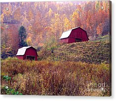 Twin Tobacco Barns Acrylic Print