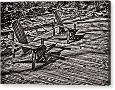 Acrylic Print featuring the photograph Two Adirondack Chairs In B/w by Greg Jackson
