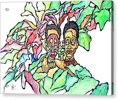 Two African Men In Leaves Acrylic Print by Glenn Calloway