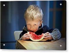 Two And A Half Years Of Watermelon Love Acrylic Print by Valerie Rosen