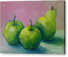 Two Apples And One Pear Acrylic Print by Michelle Abrams