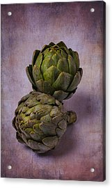 Two Artichokes Acrylic Print by Garry Gay