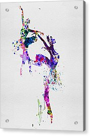 Two Ballerinas Dance Watercolor Acrylic Print