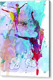Two Ballerinas Watercolor 4 Acrylic Print by Naxart Studio