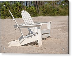 Acrylic Print featuring the photograph Two Beach Chairs by Charles Beeler
