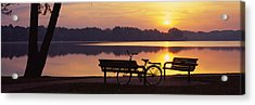 Two Benches With A Bicycle Acrylic Print