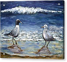 Acrylic Print featuring the painting Two Birds With Foam by Jeanne Forsythe