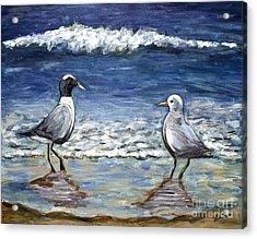Two Birds With Foam Acrylic Print by Jeanne Forsythe