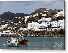 Two Boats In The Mykonos Harbor Acrylic Print by John Rizzuto