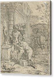 Two Boys At Statuette Of Venus, Lodewijk De Deyster Acrylic Print