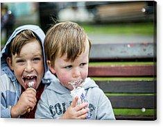 Two Boys Eating Ice Creams Acrylic Print by Samuel Ashfield