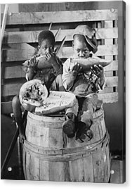 Two Boys Eating Watermelon Acrylic Print by Underwood Archives