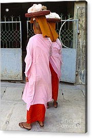 Two Buddhist Nuns Collecting Food Donation From Locals 75th Street Mandalay Burma Acrylic Print by PIXELS  XPOSED Ralph A Ledergerber Photography
