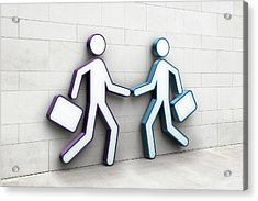 Two Businessmen Shaking Hands Acrylic Print by Jorg Greuel