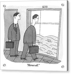 Two Businessmen Walk Towards An Open Elevator Acrylic Print