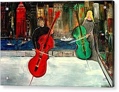 Two  Cello Players  Rooftop  Acrylic Print by Rick Todaro