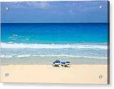 Two Chairs On Cancun Beach Acrylic Print
