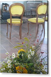 Two Chairs With Flowers Acrylic Print