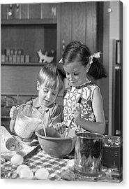 Two Children Baking, C.1960s Acrylic Print by H. Armstrong Roberts/ClassicStock