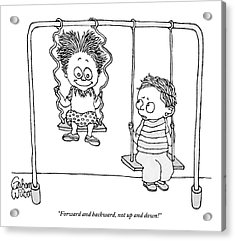 Two Children Sit On Swings Acrylic Print