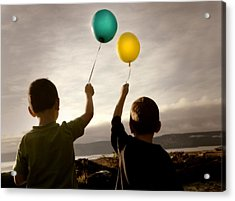 Two Children With Balloons Acrylic Print by Con Tanasiuk