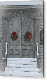 Two Christmas Wreaths Acrylic Print by Alana Ranney