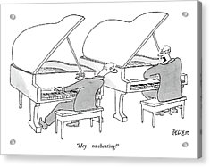 Two Concert Pianists Play Side-by-side Acrylic Print