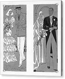 Two Couples Getting Married Acrylic Print by Pierre Mourgue
