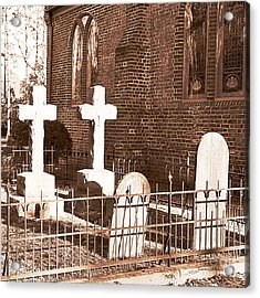 Two Crosses In Saint Lukes  Acrylic Print by Artist and Photographer Laura Wrede