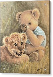 Acrylic Print featuring the drawing Two Cubs by Ethel Quelland
