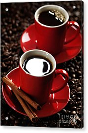 Two Cups Of Coffe On Coffee Beans Acrylic Print by Oleksiy Maksymenko