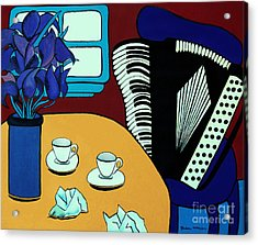 Two Cups One Accordian Acrylic Print by Barbara McMahon