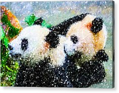Acrylic Print featuring the digital art Two Cute Panda by Lanjee Chee