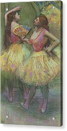 Two Dancers Before Going On Stage Acrylic Print by Edgar Degas