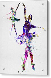 Two Dancing Ballerinas Watercolor 4 Acrylic Print
