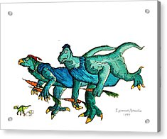Two Dinos On The Run  Acrylic Print