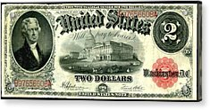 Two Dollar 1917 United States Note Fr60 Acrylic Print by Lanjee Chee