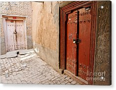 Two Doors In The Old Town Of Kashgar Acrylic Print by Robert Preston