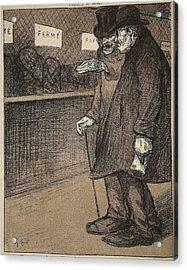 Two Elderly Gentlemen Walking Acrylic Print by Eugene Cadel