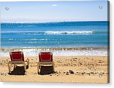 Two Empty Sun Loungers On Beach By Sea Acrylic Print