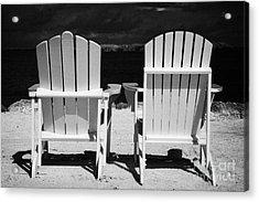 Two Empty Sun Loungers On Private Beach Islamorada Florida Keys Usa Acrylic Print by Joe Fox