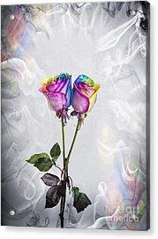 Two Entwined Kaleidoscope Roses Acrylic Print by Linda Matlow